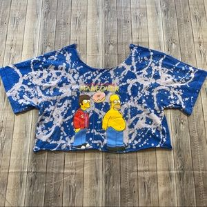 Bleached Off the Shoulder Homer Simpson Crop Top